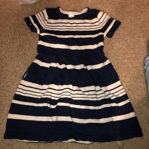 Crewcuts t shirt navy blue striped dress 6